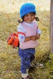 Condado de Cusco, Peru - 5 de agosto de 2018: Uma menina peruana bonito, adorável fotografia de stock