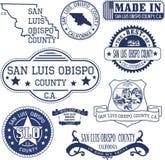 Condado de San Luis Obispo, CA Sistema de sellos y de muestras stock de ilustración