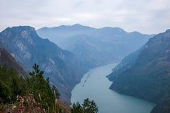 Condado de Wenshan, Chongqing Wenfeng Forest Park que negligencia o desfiladeiro do Rio Yangtzé Three Gorges Wu Fotos de Stock Royalty Free