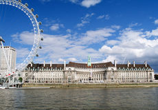 Condado pasillo Londres y terraplén de Thames Imagenes de archivo