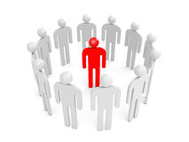 Condemnation illustration concept. Abstract white 3d people stand in ring with one red person inside. Condemnation illustration concept Royalty Free Stock Photos