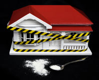 Condemned drug contaminated home concept New Zealand NZ villa ho. Use and powdered substance that may resemble meth, methamphetamine, heroin, cocaine royalty free stock photos