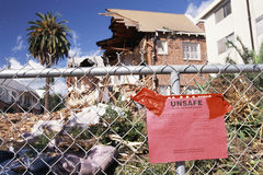 Condemned house destroyed. By natural disaster Royalty Free Stock Photos