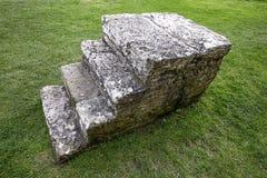 Condenados principais das escadas medievais da pedra à execução imagem de stock