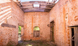 Condene a casa em Darlington em Maria Island, Tasmânia, Austrália Fotos de Stock