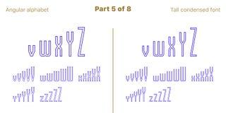 Condensado esboçou a fonte angular, vetor de Sans Serif ilustração stock