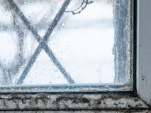 Condensate fungus mold on window. Closeup of condensate fungus mold on window frame. high humidity indoor at home royalty free stock photos
