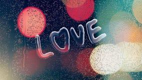 Condensatie op glas die een liefdewoord vormen stock illustratie