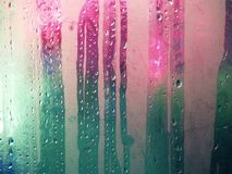 Condensation. Water droplets on inside of window Royalty Free Stock Photos