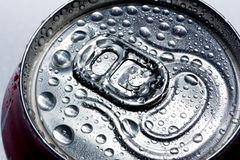 Condensation on drinks can. Surface view of condensation on cold soft drinks can Stock Image