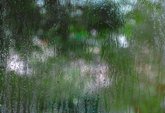 Condensation on the glass. Trees in the background Stock Images