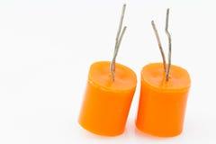 Condensatore elettrolitico due Fotografia Stock Libera da Diritti