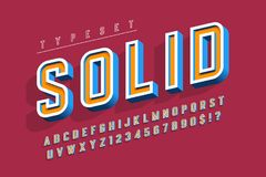 Condensed bold 3d display font, alphabet, letters and numbers. Royalty Free Stock Photos