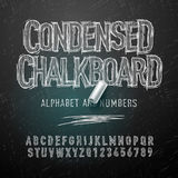 Condensed chalk alphabet letters and numbers Royalty Free Stock Photos