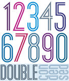 Condensed colorful double numbers isolated on white. Background, retro poster Stock Images