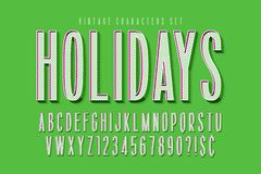Condensed comical 3d display font design, alphabet. Letters and numbers. Swatch color control royalty free illustration