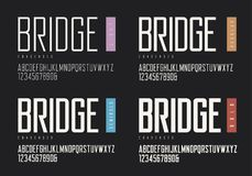 Condensed light regular semibold bold sans serif. Vector typefac. Es, uppercase alphabet with letters and numbers, font, typography. Global swatches Royalty Free Stock Image