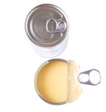 Condensed Milk I. N tin cans over white background royalty free stock photo