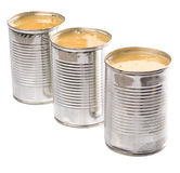 Condensed Milk II. Condensed milk in tin can over white background royalty free stock photo