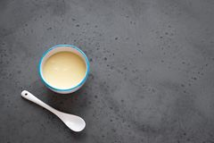 Condensed milk. In white bowl. Sweet vanilla sauce, condensed or evaporated milk, top view, copy space stock photos