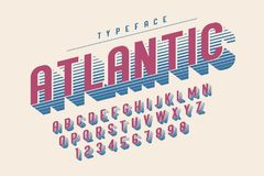 Condensed retro display font design, alphabet, character set. Letters and numbers. Swatch color control Stock Photos