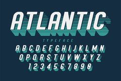Condensed retro display font design, alphabet, character set. Letters and numbers. Swatch color control Stock Photo