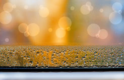 Condensed water on the window. After night, every morning stock photography