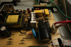 Condenser Circuit Design. Of an old monitor that is working on high voltage lamps stock photos