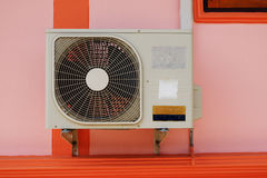 Condenser fan air on the wall. Stock Photo