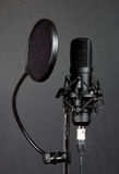 Condenser microphone. Black condenser microphone with pop filter on grey background royalty free stock photos