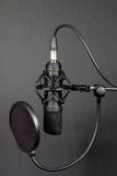 Condenser microphone. Black condenser microphone with pop filter on grey background stock photo