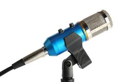 Condenser microphone with holder. On white background stock photo