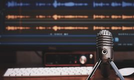 Condenser microphone. Home audio record royalty free stock image