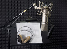 Condenser microphone in recording room. Condenser microphone in vocal recording room Stock Images