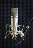 Condenser microphone in recording studio. Condenser microphone in vocal recording studio Royalty Free Stock Photography
