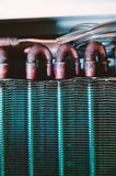 Condenser unit detail air conditioner heat exchanger Stock Image
