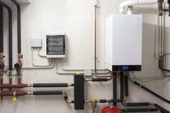 Condensing boiler gas in the boiler room Royalty Free Stock Photos