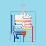 Condensing gas boiler. Gas boiler icon. Royalty Free Stock Photography