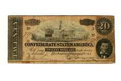 Free Conderate Bill Printed In Richmond, Virgina, 1864, Showing The State Capital Building In Nashville, Royalty Free Stock Images - 1544259