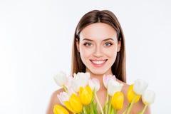 Condição de mulher da vitalidade do bem-estar nenhum conceito da cirurgia plástica Fim acima Foto de Stock Royalty Free