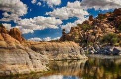 Condições da seca em um lago Fotografia de Stock Royalty Free