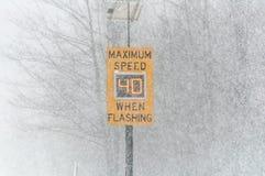 Condições de estrada - sinal do limite de velocidade máxima Foto de Stock