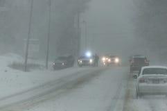 Condições de estrada tempestade 3-14-2017 - nem do inverno de easter do ` Fotos de Stock Royalty Free