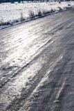 Condições geladas das estradas Imagens de Stock Royalty Free