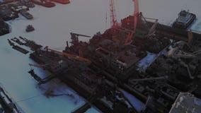 Condición de naves logísticas, tiroteo aéreo del invierno almacen de video