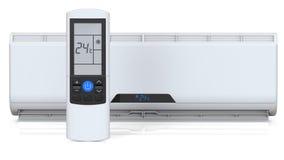 Condicionador de ar branco 3D rendem, isolado no fundo branco Fotografia de Stock