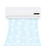 Condicionador de ar rachado do sistema Condicionador realístico com ar frio com flocos de neve Ilustração do vetor isolada no bra Foto de Stock