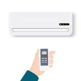 Condicionador de ar rachado do sistema Condicionador realístico com a mão que guarda o controlo a distância Ilustração do vetor i Foto de Stock