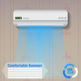 Condicionador moderno com ilustração do vetor do fluxo de ar frio em casa, molde da bandeira da propaganda ou fundo Imagens de Stock Royalty Free