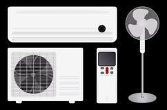 Condicionamento de ar e ventilador ilustração do vetor